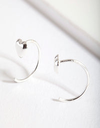 Sterling Silver Heart Pull Through Hoop Earring - link has visual effect only