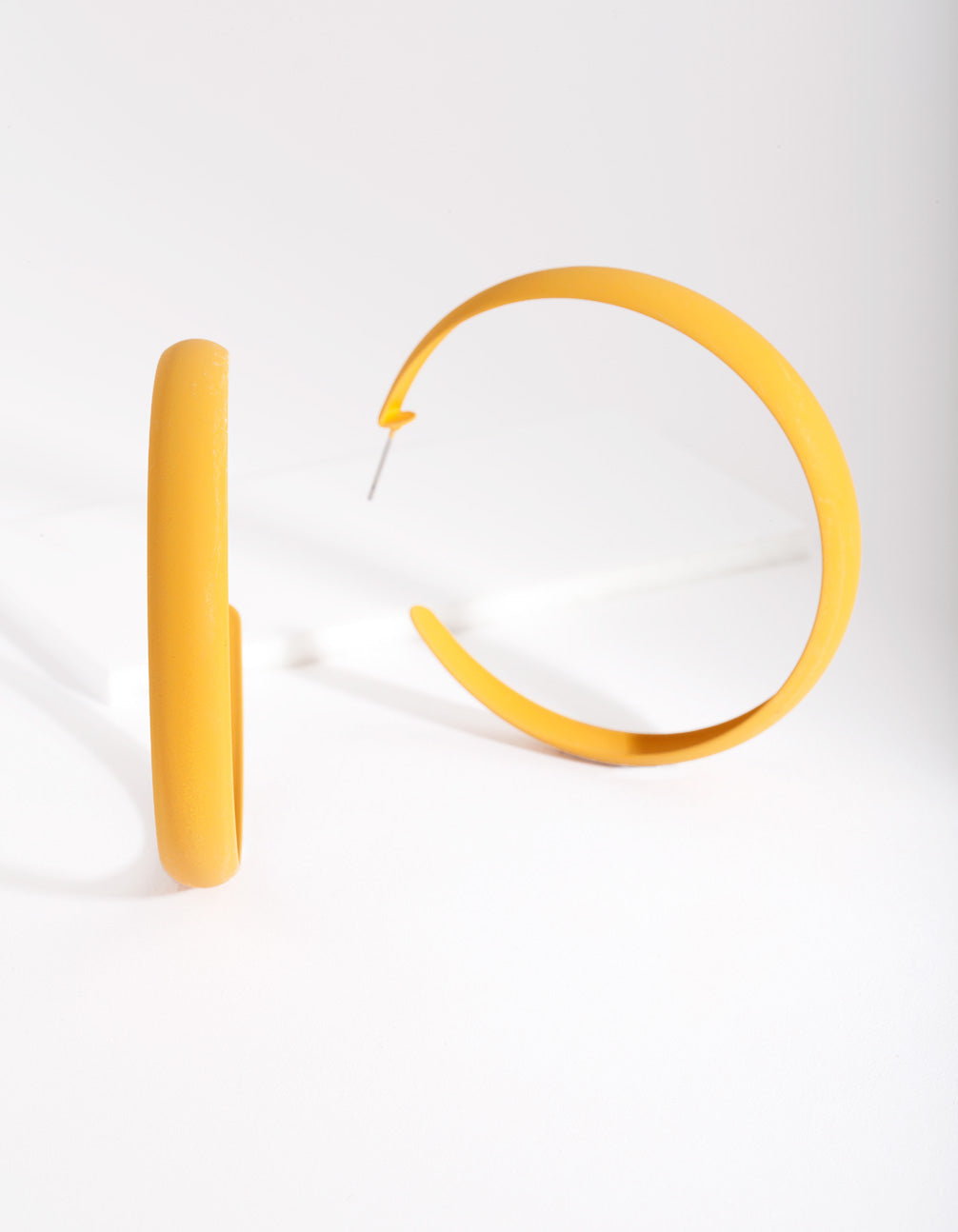 Mustard Coated Metal 60mm Hoop Earring
