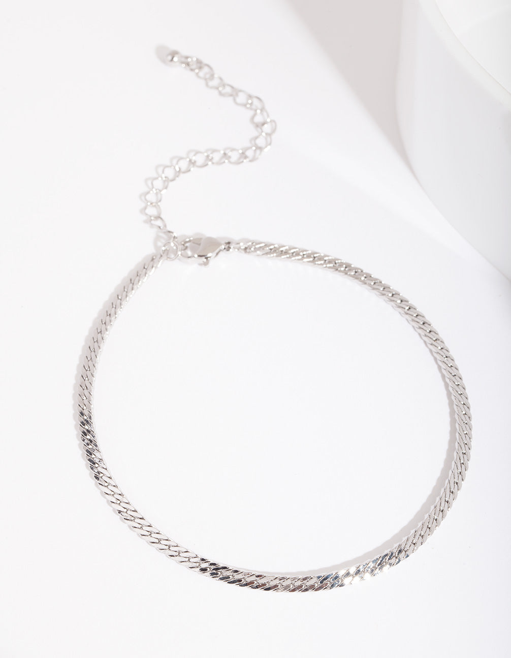 Rhodium 3mm Herringbone Chain Anklet