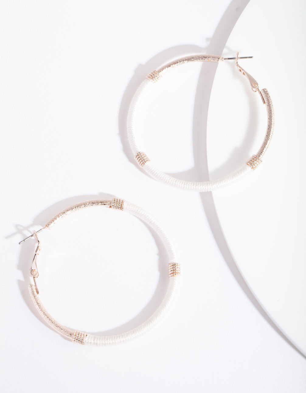 Rose Gold White Thread Wrap Hoop