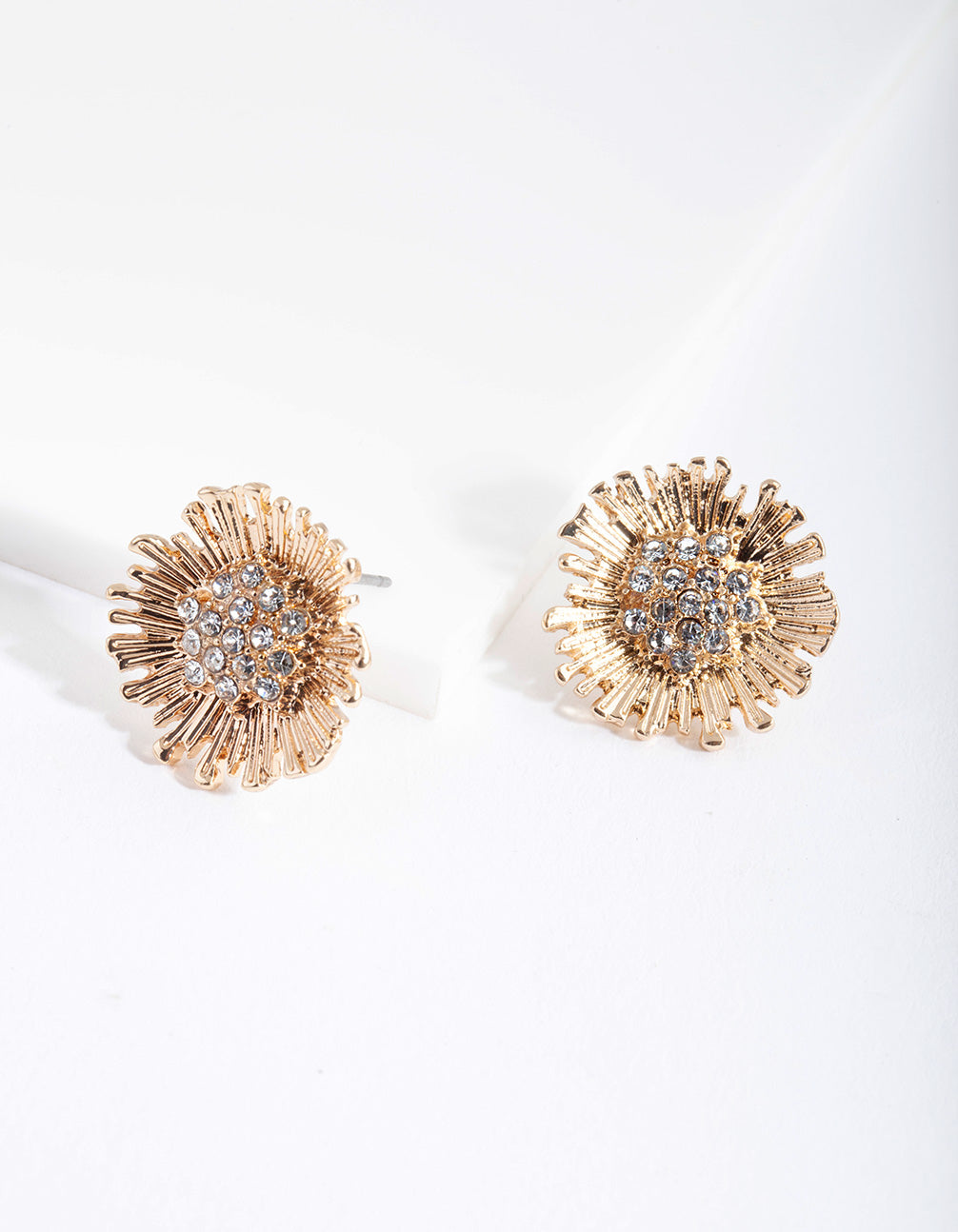 Gold Double Flower Diamante Earring
