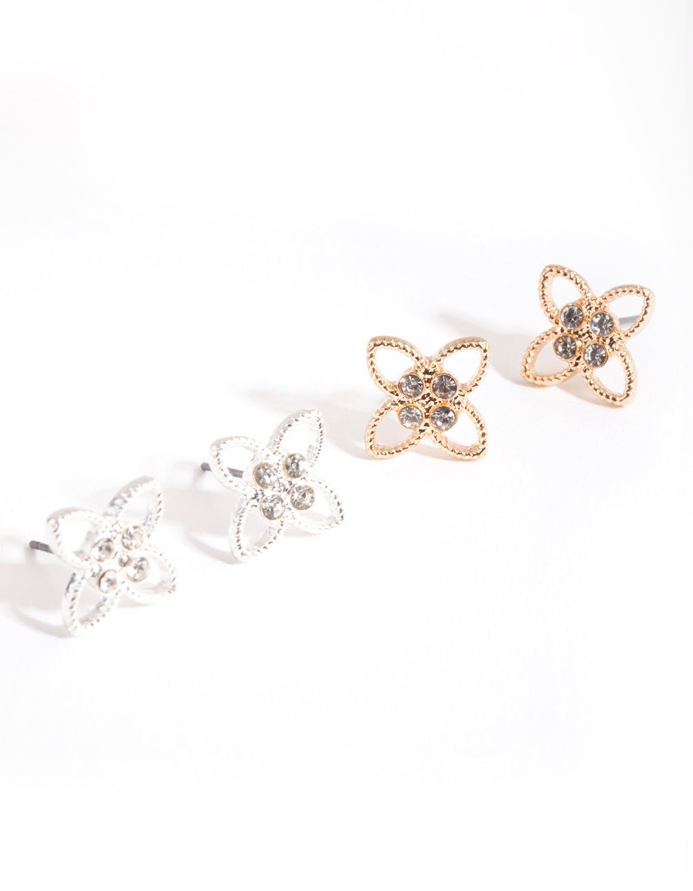 Mixed Metal Wire Flower Earring 2 Pack