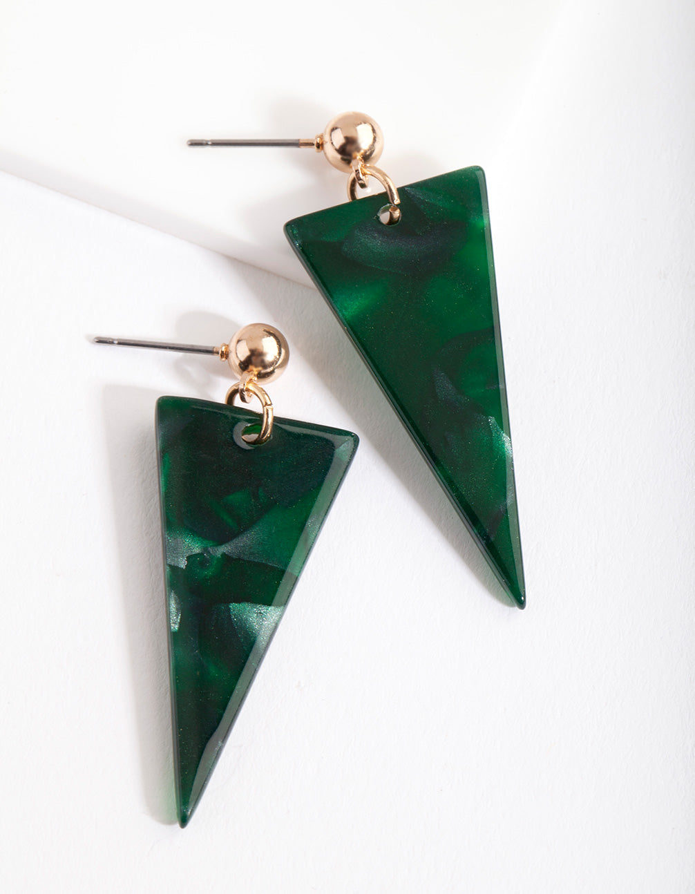 Green Acrylic Triangle Drop Earring