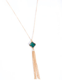 Gold Clover Tassel Chain Necklace - link has visual effect only