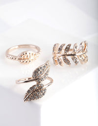 Rose Gold Diamante Leaf Ring 3 Pack - link has visual effect only