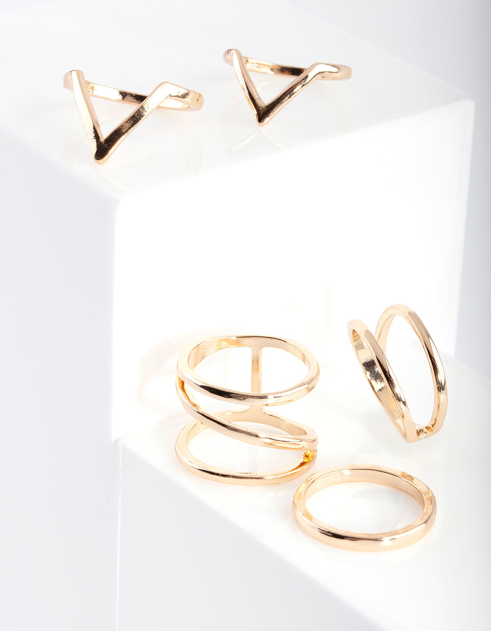 Gold Smooth Band Ring 5 Pack