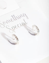 Silver Swarovski Crystal Huggie Earring - link has visual effect only