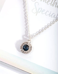 Silver Swarovski Midnight Blue Halo Necklace - link has visual effect only