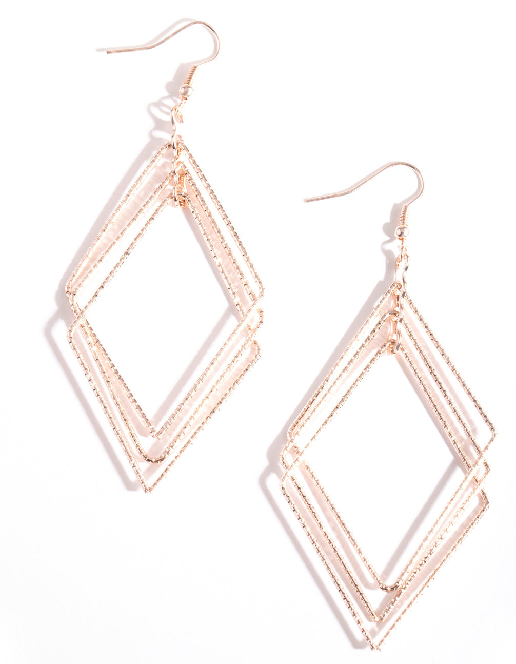 Rose Gold Textured Geometric Earring