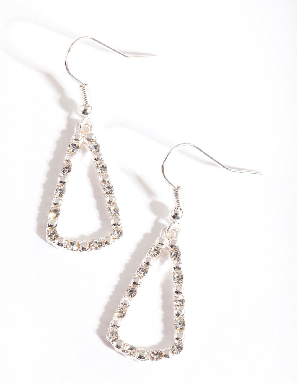 Silver Diamante Triangle Earring