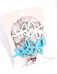 Blue and White Large Butterfly Hair Slide - link has visual effect only