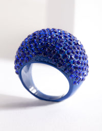 Blue Coated Metal Pave Diamante Dome Ring - link has visual effect only