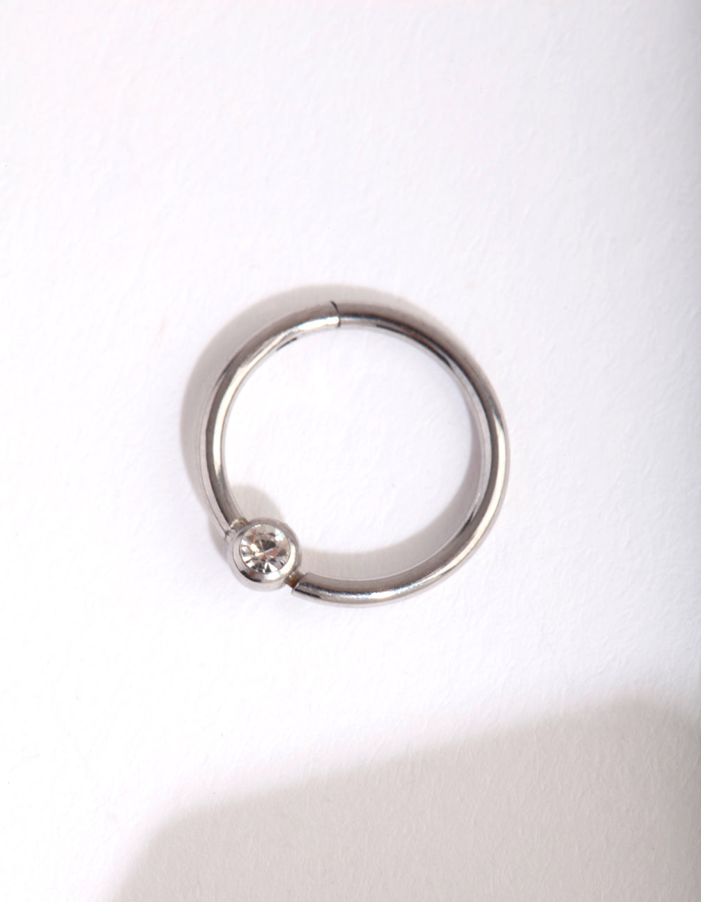 Rhodium Diamante Belly Clicker Ring