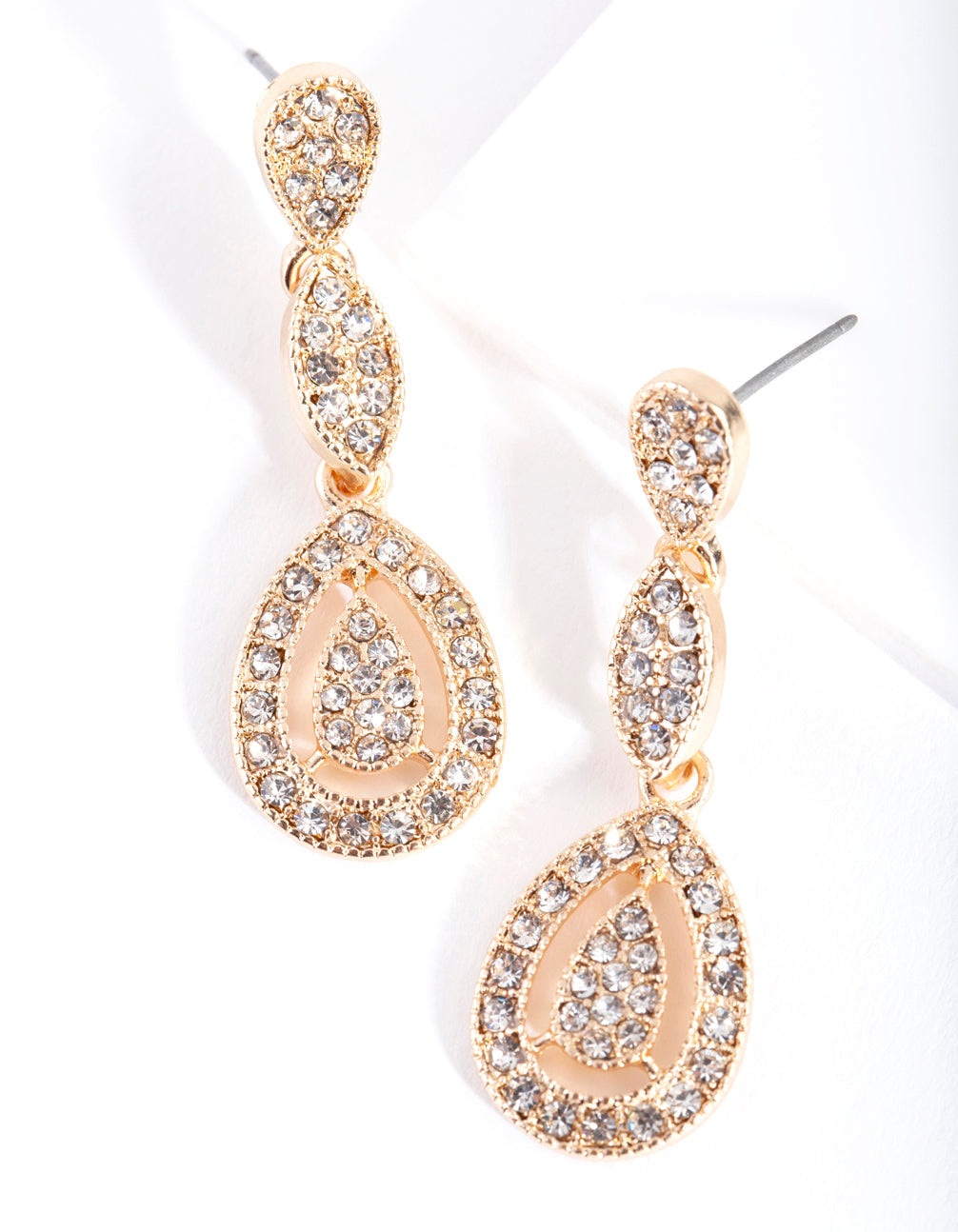 Gold Stone Cutout Earring