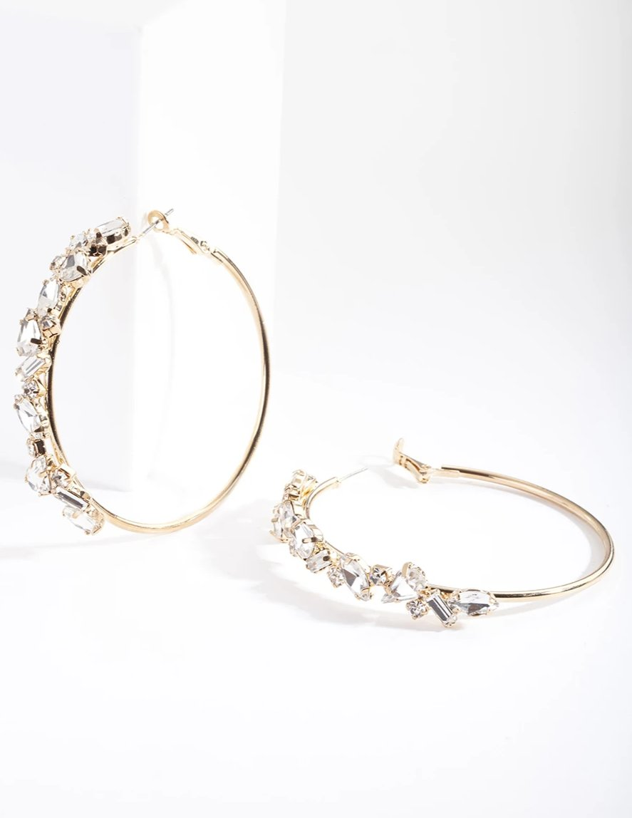 Gold Stone Cluster Hoop Earring