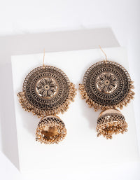 Antique Gold Bell Charm Flower Disc Earring - link has visual effect only