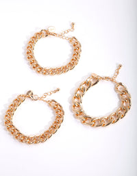 Gold Curb Link Chain Bracelet 3 Pack - link has visual effect only