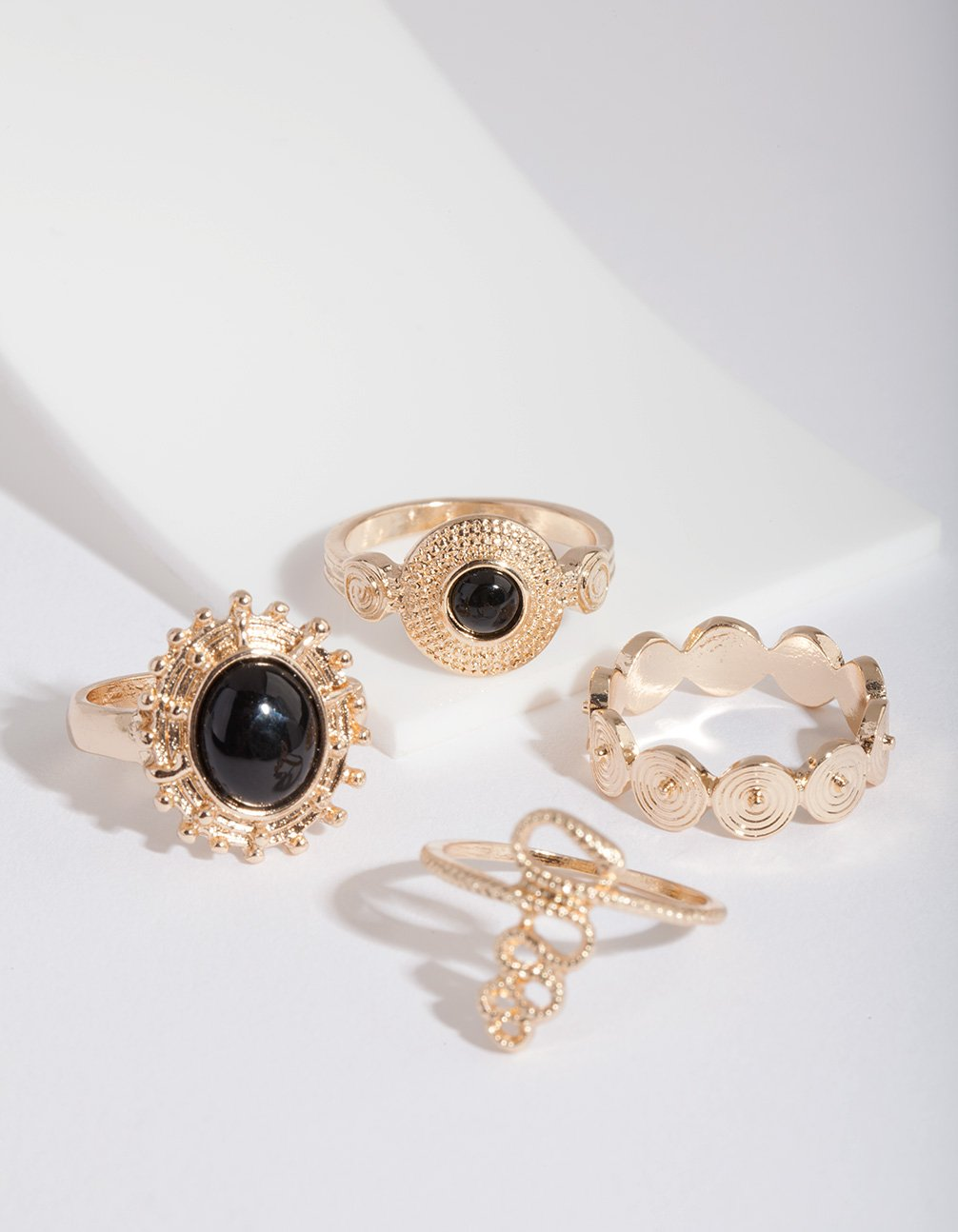 Gold Stone Disc Ring 4 Pack