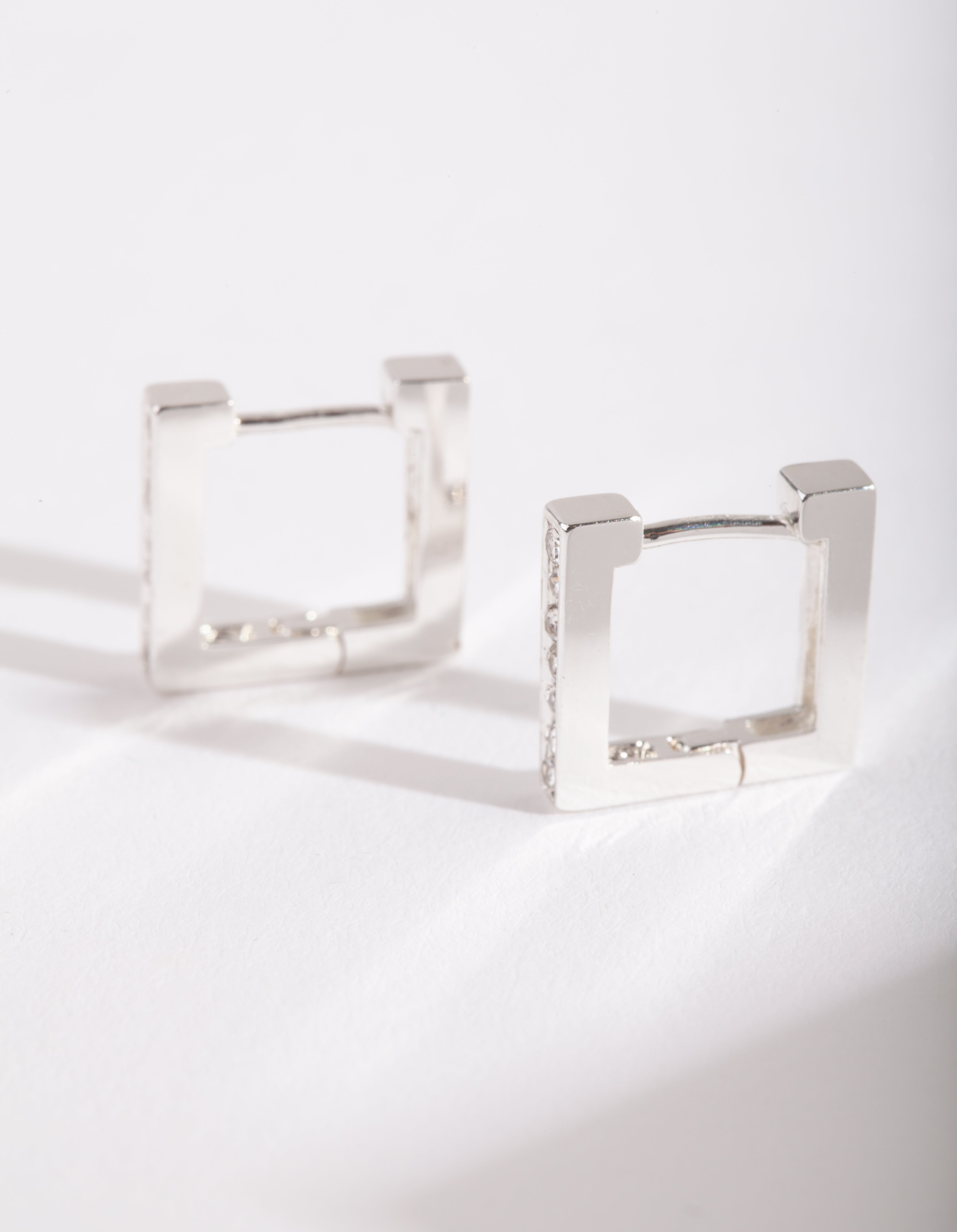 Silver Square Diamante Huggie