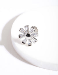 Rhodium Surgical Steel Cubic Zirconia Baguette Flower Flatback Earring - link has visual effect only
