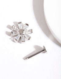 Rhodium Cubic Zirconia Baguette Flower Flatback Earring - link has visual effect only