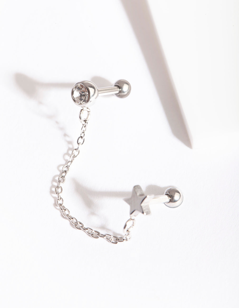 Rhodium Celestial Chain Double Barbell Earring