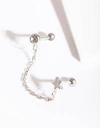 Rhodium Celestial Chain Double Barbell Earring - link has visual effect only