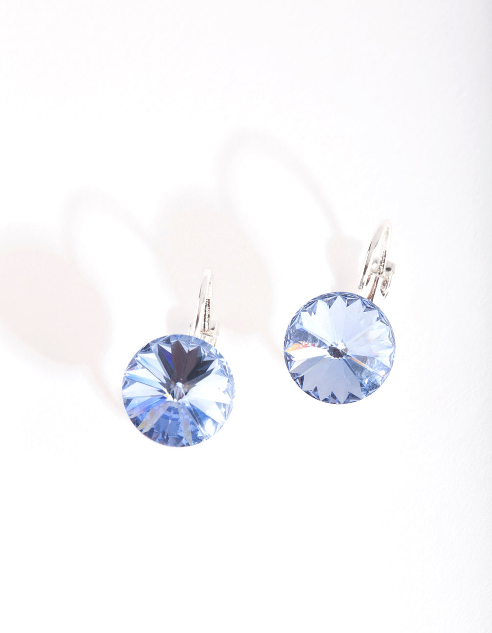 Silver and Blue Diamond Simulant Drop Earrings
