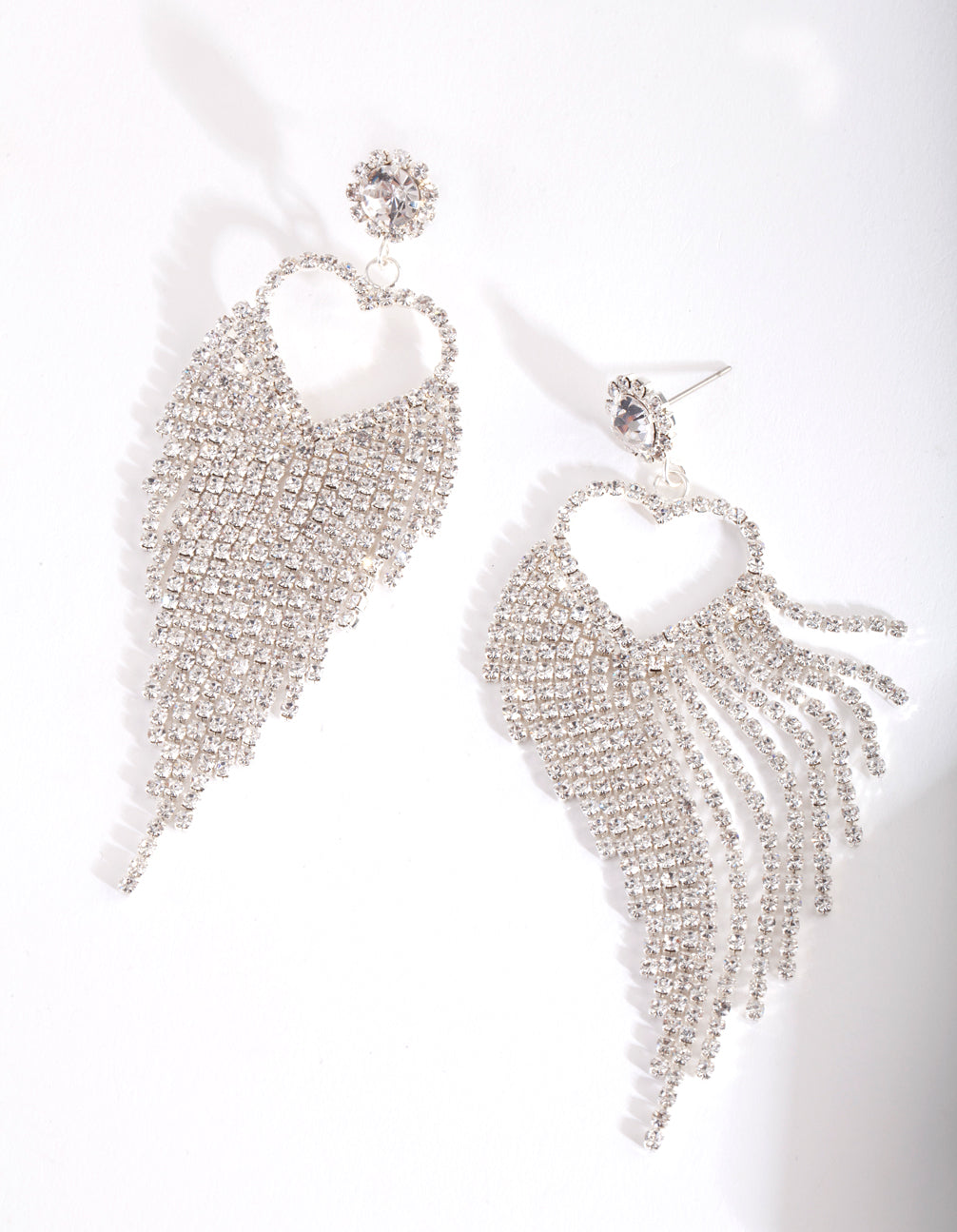Silver Cupchain Heart Drop Earring