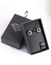 Diamond Simulant Rhodium Blue Stud Earring - link has visual effect only