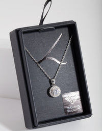 Diamond Simulant Rhodium Round Halo Necklace - link has visual effect only
