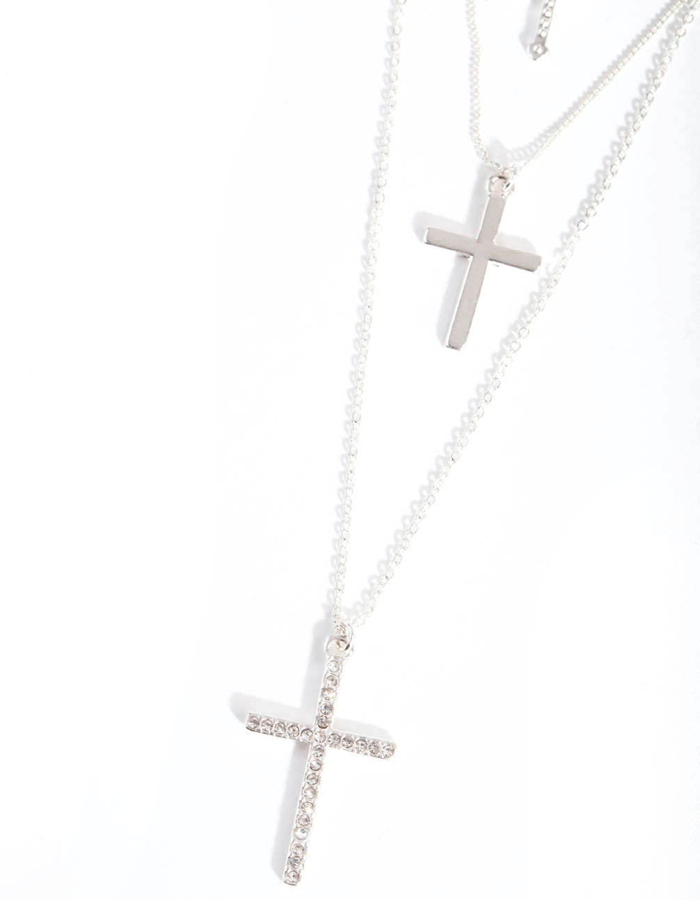 Silver Multi-Layered Cross Necklace
