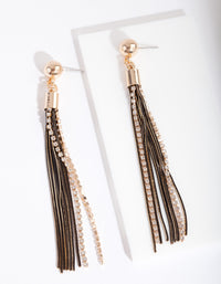 Black & Gold Cutchain Diamante Earring - link has visual effect only