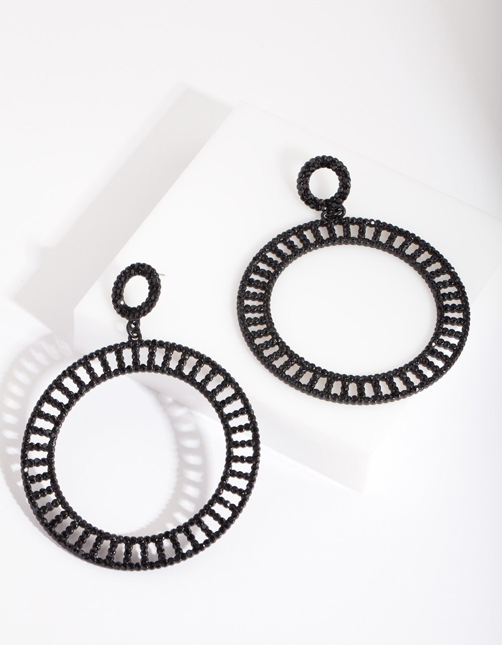 Black Cutout Diamante Disc Earring