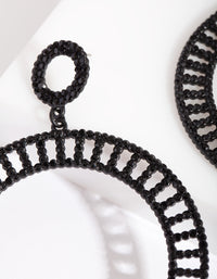 Black Cutout Diamante Disc Earring - link has visual effect only