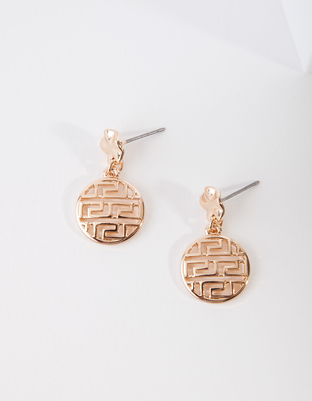 Gold Circle Maze Drop Earrings