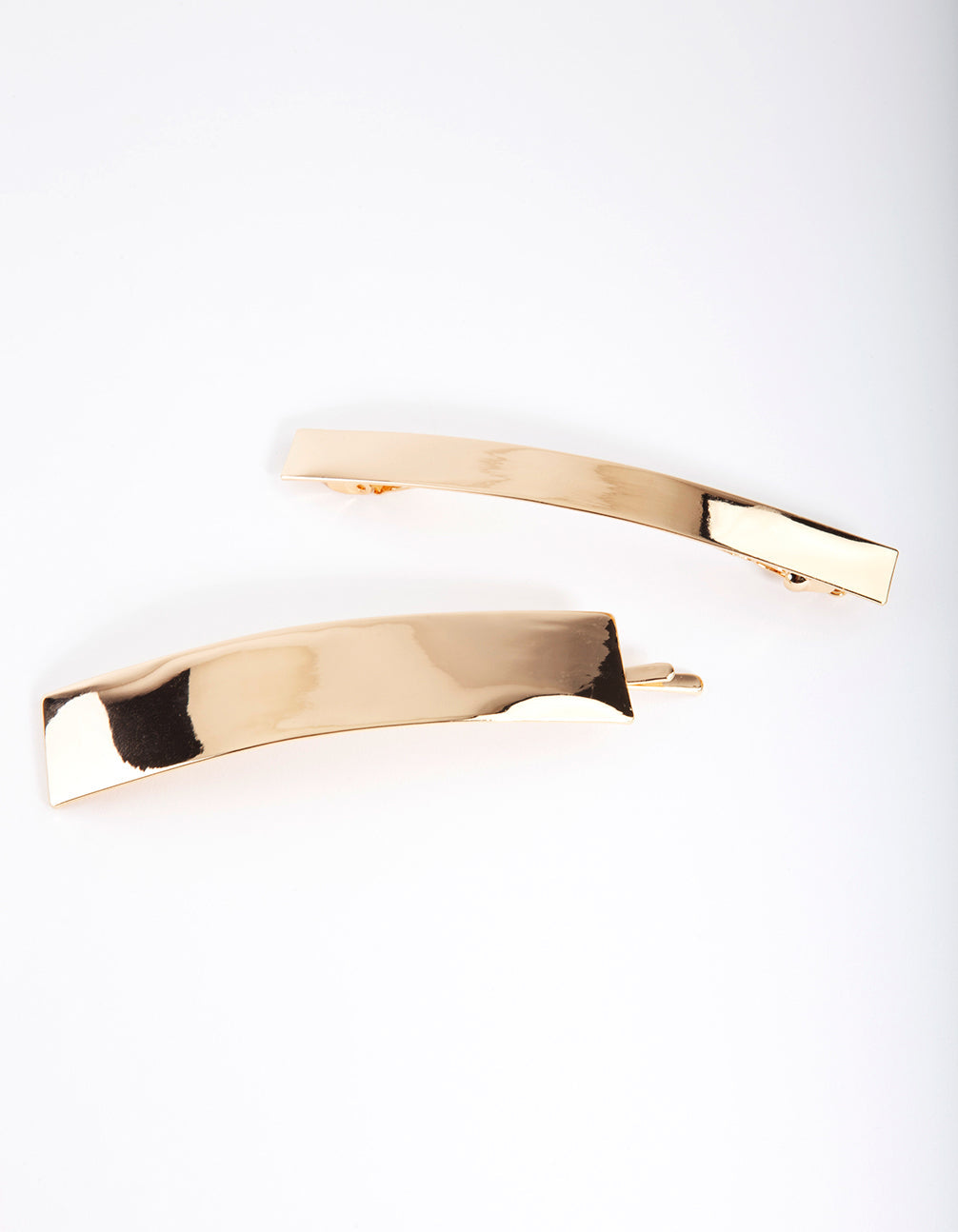 Gold Smooth Bar Hair Clip 2 Pack