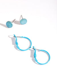 Blue Jelly Hoop Earring 2 Pack - link has visual effect only