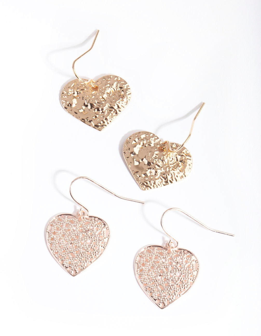 Mixed Metal Textured Heart Earring 2 Pack