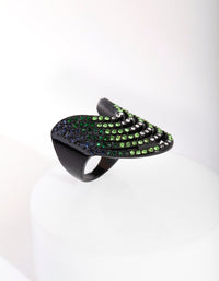 Black Diamante Drop Wave Ring - link has visual effect only