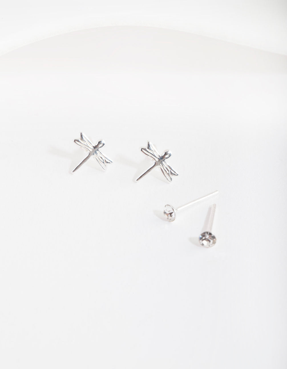 Silver Diamante & Dragonfly Earring 2 Pack