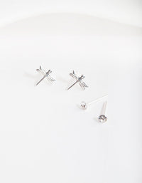Silver Diamante & Dragonfly Earring 2 Pack - link has visual effect only
