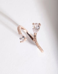 Rose Gold Open Teardrop Diamante Ring - link has visual effect only