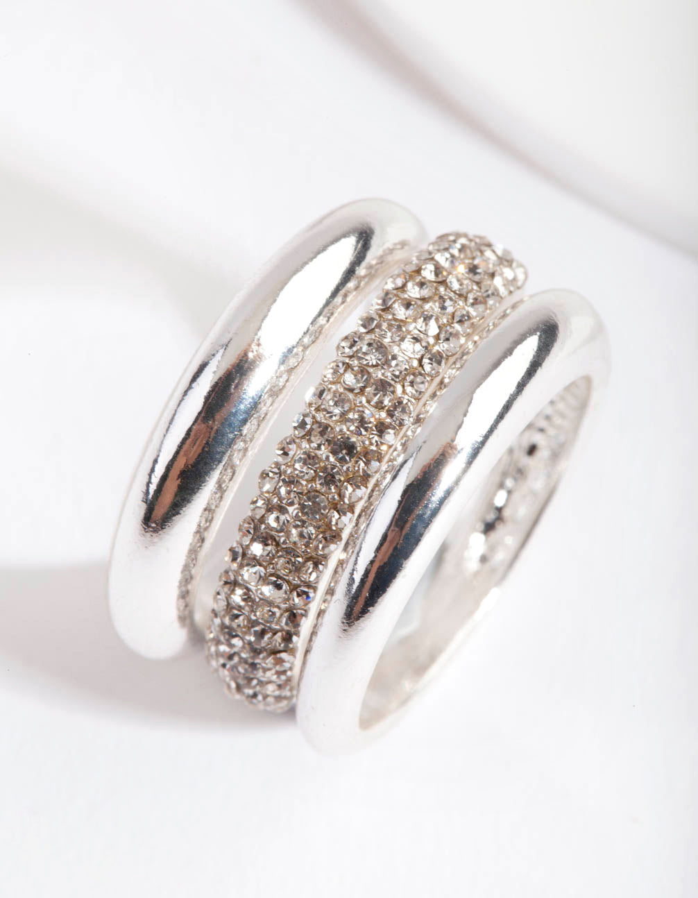 Silver Curve Band Diamante Ring 3 Pack