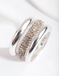 Silver Curve Band Diamante Ring 3 Pack - link has visual effect only