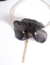 Gold Black Fabric Flower Hoop Earring - link has visual effect only