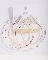 Real Mixed Metal Plated Textured Hoop Earring 3 Pack - link has visual effect only