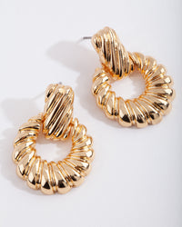 Real Gold Plated Twist Circle Doorknocker Earrings - link has visual effect only