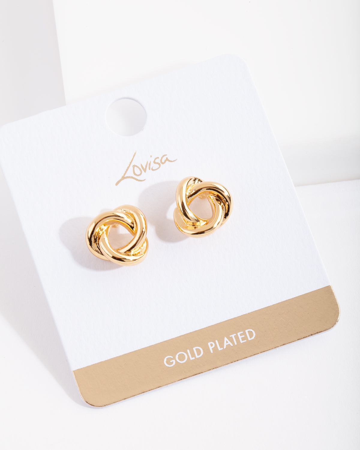 Real Gold Plated Knot Stud Earring