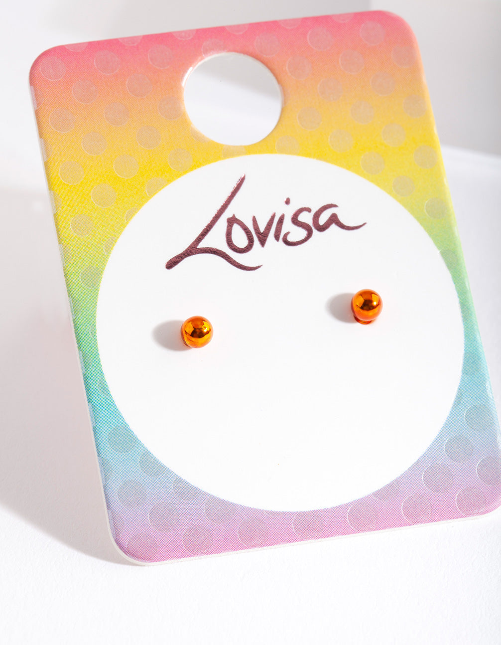 Kids Orange Metal Stud Earring